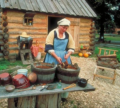 Outdoor exhibit of pioneer life